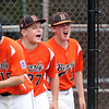 DAVID LE/Staff photo. Beverly's Nick Fox, left, and Brennan Frost, right, cheer in excitement while runn ing to home plate to greet teammate Joe Kotwicki after his 2-run first inning homer. 7/28/16.