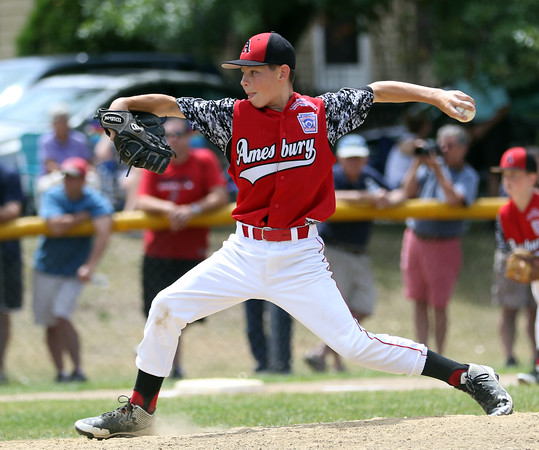 DAVID LE/Staff photo. Amesbury pitcherDrew MacDonald throws a pitch against Danvers National on Saturday afternoon. 7/2/16.
