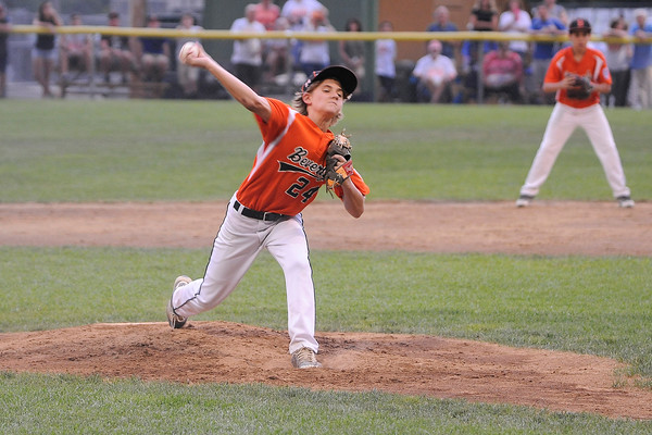 TIM JEAN/Staff photo<br /> Beverly's Joe Kotwicki throws a pitch against Andover during the Section 4 Little League all-star championship game at Harry Ball Field in Beverly. Beverly defeated Andover  9-4.   7/23/16