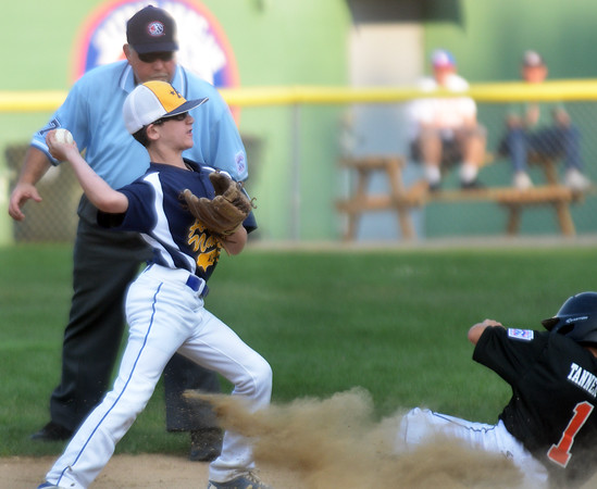 CARL RUSSO/Staff photo. Andover National, Dylan Brenner makes the out at second. Andover defeated Woburn 16-6 in Little League action. 7/20/2016