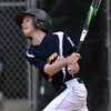 CARL RUSSO/Staff photo. Andover National, Patrick Shaw swings hard for a base hit. Andover defeated Woburn 16-6 in Little League action. 7/20/2016
