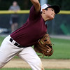 DAVID LE/Staff photo. Gloucester starting pitcher Jack Costanzo fires a pitch against Manchester-Essex on Tuesday evening at Harry Ball Field. 7/12/16.