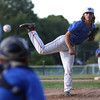 DAVID LE/Staff photo. Middleton-Peabody starting pitcher Elias Varinos fires a pitch against Newburyport in the Legion 8 playoffs. 7/19/16.