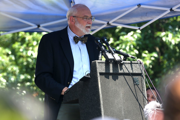 """HADLEY GREEN/Staff photo<br /> Salem State University history professor Emerson """"Tad"""" Baker speaks at the memorial dedication ceremony. Baker is a member of the Towne family, descendants of Rebecca Nurse, whose maiden name was Towne. Rebecca Nurse was one of the 19 innocent people executed for the supposed crime of witchcraft in 1692. 7/18/17"""