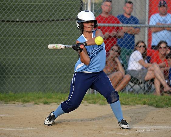 RYAN HUTTON/ Staff photo<br /> Peabody's Michaela Alperen swings away at a pitch in the bottom of the fourth inning of Thursday's game against Woburn at the Lt. Ross Park.