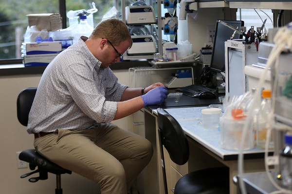 HADLEY GREEN/Staff photo<br /> Scientist Charlie Klassen works in the lab on his research focusing on using stem cells to grow replacement organs at North Shore InnoVentures. 7/27/17