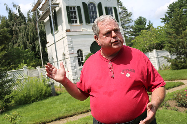 HADLEY GREEN/Staff photo<br /> Danvers Historical Society Vice President George Saluto explains the restoration at the Derby Summer House on Glen Magna Farms in Danvers. 7/28/17