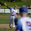 RYAN HUTTON/ Staff photo<br /> Danvers Aaron Blum makes the throw to Joey Zemejtis at first during the top of the second inning of Wednesday's game against Gloucester at Boudreau Field in Gloucester.