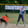 RYAN HUTTON/ Staff photo<br /> Peabody's Emma Bloom firs the ball to first after making the out at second in the top of the fifth inning of Thursday's game against Woburn at the Lt. Ross Park.
