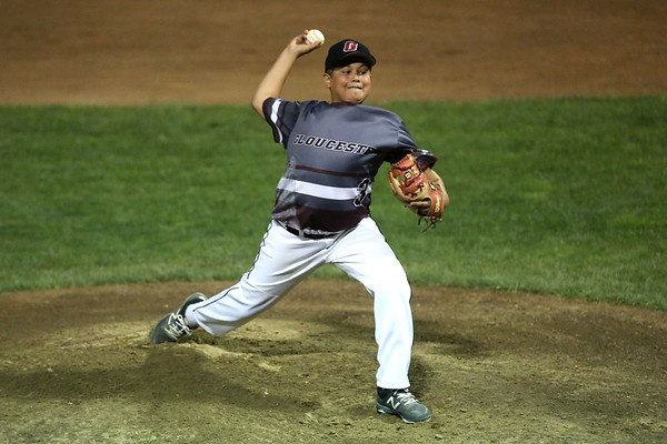 HADLEY GREEN/Staff photo<br /> Gloucester's Zach Morris (3) pitches at the Peabody West Little League all-stars' game vs. Gloucester at the Reinfuss Field in Lynn. 7/19/17
