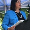 HADLEY GREEN/Staff photo<br /> Salem Mayor Kim Driscoll speaks at the new Proctor's Ledge memorial dedication ceremony. 7/18/17