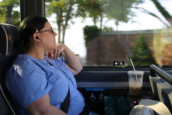 HADLEY GREEN/Staff photo<br /> Sandra Lawson of Gloucester rides to Beverly for work on the MBTA Newburyport Rockport line shuttle bus. 7/18/17