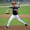 RYAN HUTTON/ Staff photo<br /> Beverly's Noah Guanci fires one in during the top of the first inning of Thursday's District 15 Little League Final game against Gloucester at Harry Ball Field in Beverly on Thursday.