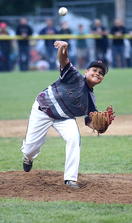 HADLEY GREEN/ Staff photo<br /> Gloucester's Zach Morris (3) pitches at the Beverly v. Gloucester District Finals Little League game. 7/14/17