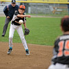 RYAN HUTTON/ Staff photo<br /> Beverly's Rook Landman fires the ball to teammate Ian Visnick to make the out at first during the top of the first inning of Thursday's District 15 Little League Final game against Gloucester at Harry Ball Field in Beverly on Thursday.