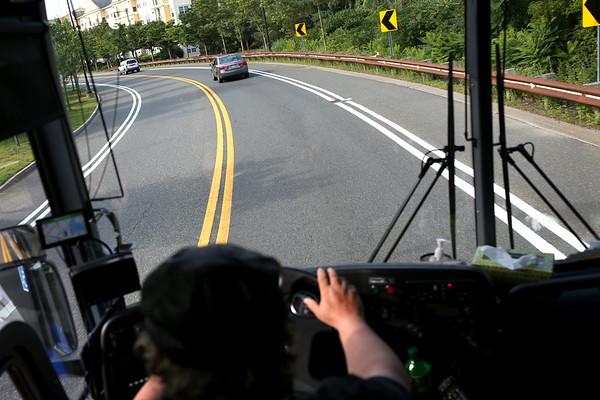 HADLEY GREEN/Staff photo<br /> An MBTA Newburyport Rockport line shuttle bus makes its way to the Salem MBTA Station from Beverly. 7/18/17