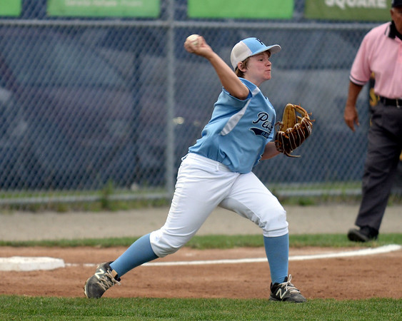 RYAN HUTTON/ Staff photo<br /> Peabody's Ryan Brunet fires the ball to second to try to make the play during the top of the third inning of Saturday night's Section 4 Little League championship against Gloucester at Wyoma Field.