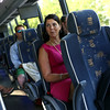 HADLEY GREEN/Staff photo<br /> Nancy Braase speaks about her experience riding the MBTA Newburyport Rockport line shuttle bus from Manchester to the Salem MBTA Station. Braase commutes to Boston for work every day. 7/18/17