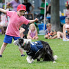 TIM JEAN/Staff photo<br /> Spencer Mcllarky, 4, of Danvers, throws a frisbee for the dog Bullet, in the High Flying Dogs Frisbee show during the 3rd Annual Field Day and Scoop-Ah-Bowl party and Family Festival at Plains Park in Danvers. 7/1/17