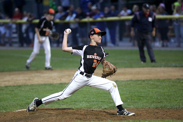 HADLEY GREEN/ Staff photo<br /> Beverly's Sam Armbruster (24) pitches at the Beverly v. Gloucester District Finals Little League game. 7/14/17