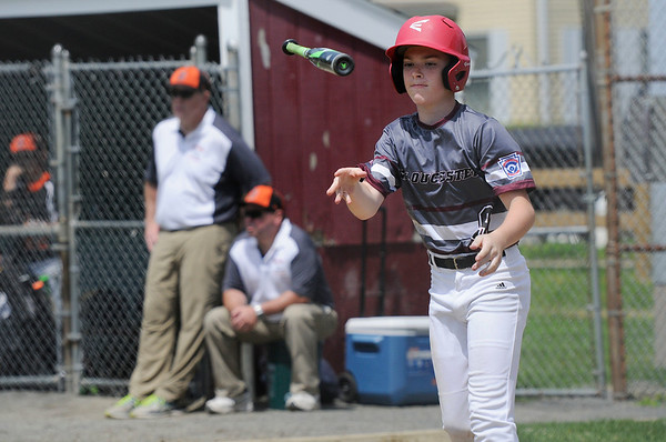 TIM JEAN/Staff photo<br /> Gloucester's Carson Harwood flips his bat after drawing the walk against Beverly during the District 15 Williamsport Little League Baseball Tournament game. Gloucester defeated Beverly 10-8. 7/1/17