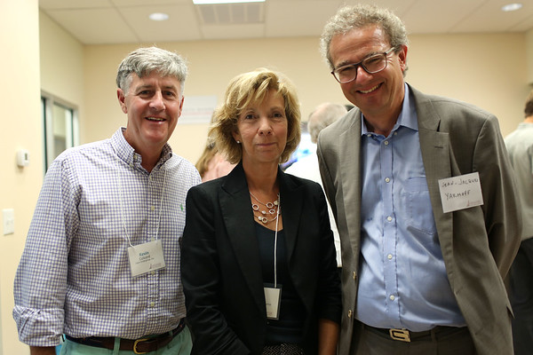 HADLEY GREEN/Staff photo<br /> From left, Kevin Colcord of Lean Enterprise, Dee Colcord of the NSIV High School Internship Program, and Jean-Jacques Yarmoff of the French Embassy attend the North Shore InnoVentures ribbon cutting ceremony at the company's new space in the Cummings Center in Beverly. 7/27/17