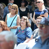 HADLEY GREEN/Staff photo<br /> Despite the heat, many people attended the dedication ceremony at the new Proctor's Ledge memorial in Salem. 7/18/17