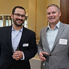 RYAN HUTTON/ Staff photo<br /> Dan Morais, with MassDevelopment, and Daniel White with iHeart Media, at the North Shore Chamber of Commerce's After Hours event at the Wylie Inn and Conference Center on Thursday.