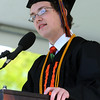 KEN YUSZKUS/Staff photo. Salutatorian H. Tyler Visnick gives his speech during the Beverly High School graduation at Hurd Stadium .   6/1/14.
