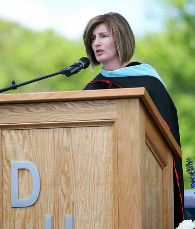 Dr. Lisa Dana, Superintendent of the Danvers Public School System gives welcoming remarks at graduation on Saturday afternoon. DAVID LE/Staff photo. 6/7/14.