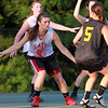 Masco's __________ defends Bishop Fenwick's Sam Gulla (5) on Monday evening. DAVID LE/Staff photo. 6/30/14.