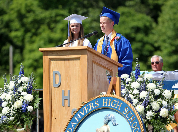 "Danvers High School senior class Vice-President Kevin Hodgkins thanks his classmates as part of his portion of the Class Officers' speech ""Words to Graduate By"" during graduation on Saturday afternoon. DAVID LE/Staff photo. 6/7/14."