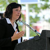 Salem Mayor Kim Driscoll makes remarks about the Great Salem Fire of 1914 at a commemoration ceremony for the 100th anniversary of the tragic event. DAVID LE/Staff photo. 6/25/14.