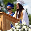 "Danvers High School senior class treasurer Stephanie Kowalski delivers her part of the Class Officers' speech ""Words to Graduate By"" on Saturday afternoon. DAVID LE/Staff photo. 6/7/14."