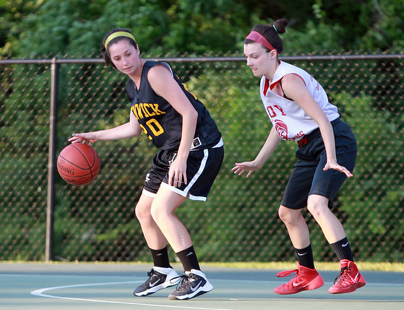 Bishop Fenwick's Ellen Fantozzi controls her dribble against Masco on Monday evening. DAVID LE/Staff photo. 6/30/14.
