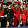 Marblehead High School graduates listen to senior essayist Emma Oliver as she speaks with her classmates on Sunday afternoon. DAVID LE/Staff photo. 6/8/14.