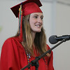 Marblehead High School senior class president Lily Cummings addresses her classmates on Sunday afternoon. DAVID LE/Staff photo. 6/8/14.