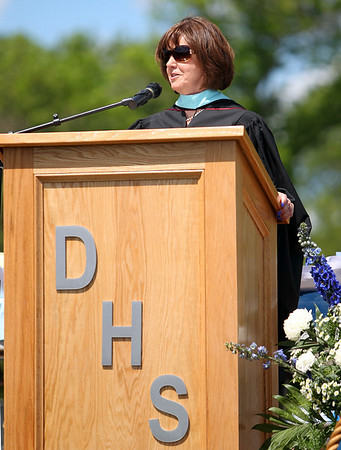 Danvers High School Principal Susan Ambrozavitch gives her opening remarks at the start of graduation on Saturday afternoon. DAVID LE/Staff photo. 6/7/14.