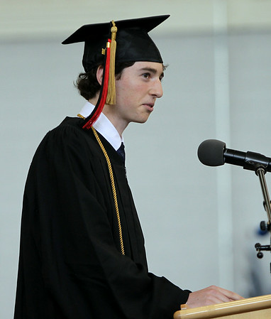 Marblehead High School Valedictorian Jason Frost addresses his classmates at graduation on Sunday afternoon. DAVID LE/Staff photo. 6/8/14.