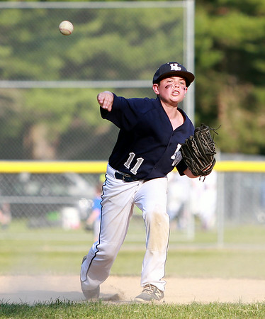 Hamilton-Wenham shortstop Will Frain fires to first to retire a Danvers National batter on Monday evening. DAVID LE/Staff photo. 6/30/14.