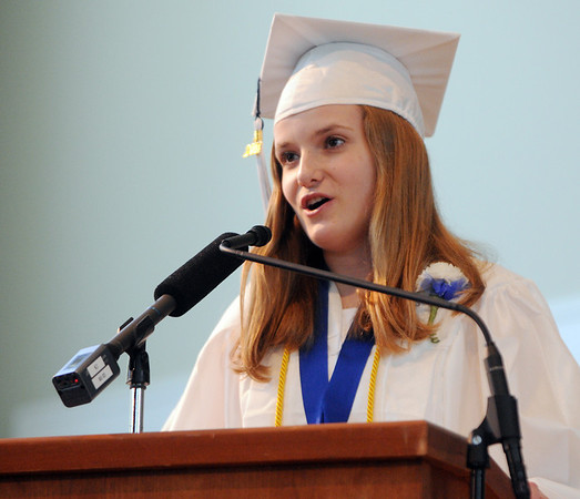 KEN YUSZKUS/Staff photo. Salutatorian Melissa Kain gives her speech during the Hamilton-Wenham graduation at Gordon College Chapel.   6/1/14.