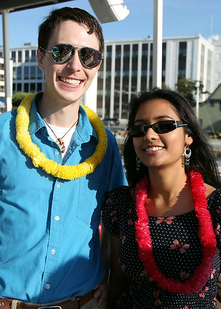 Jeremy Ebersole, of Essex Heritage, and his date Melanie Govender, at the North of Boston Convention and Visitors Bureau's Sail Into Summer Fundraiser aboard the Hannah Glover on Wednesday evening. DAVID LE/Staff photo. 6/18/14.