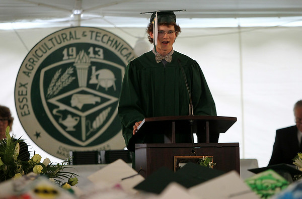 Essex Aggie graduate Robert Craig delivers the Orator's Welcome during the final Commencement ceremony for the Essex Agricultural and Technical High School. Next year Essex Aggie and North Shore Technical High School will combine into one school. DAVID LE/Staff photo. 6/5/14.