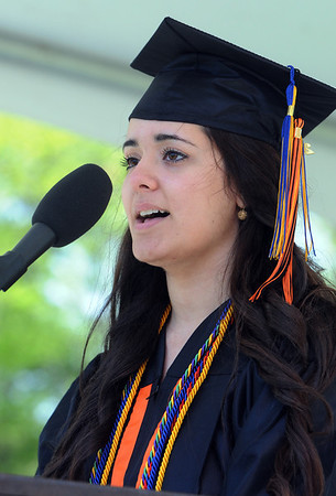KEN YUSZKUS/Staff photo. Hind Al Jarahi gives the welcome speech during the Beverly High School graduation at Hurd Stadium .   6/1/14.