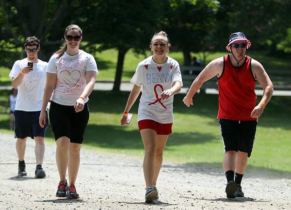 Kristen McAndrews, Maggie McCormack, and Drew McCormack, participate in the It's My Heart Walk at Endicott Park on Sunday morning as part of the Danvers Family Festival. DAVID LE/Staff photo. 6/29/14.