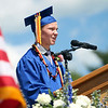 "Danvers High School graduate Ryan Heber delivers his essay titled ""Gibberish: An Art Form,"" to his classmates during graduation on Saturday afternoon. DAVID LE/Staff photo. 6/7/14."