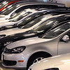 KEN YUSZKUS/Staff photo. Volkswagens are lined up in the warehouse at Kelly Volkswagen on Route 114 in Danvers.  6/13/14.