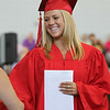 Marblehead High School graduate Rowan Easterbrooks smiles after receiving her diploma on Sunday afternoon. DAVID LE/Staff photo. 6/8/14.