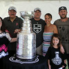 From left, Kathy Yanetti (mom), Jane Yanetti (sister), Joe (dad), Joe, Gaelen, and Kate, 6, and Mark and Kristen Yanetti with the Stanley Cup. Mark Yanetti, the Director of Amateur Scouting for the Los Angeles Kings won the Cup for the second time in three years. DAVID LE/Staff photo. 6/29/14.
