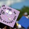In a sea of colorful and well decorated mortar boards, one Danvers High School graduate pays tribute to former Danvers High School teacher Colleen Ritzer. DAVID LE/Staff photo. 6/7/14.
